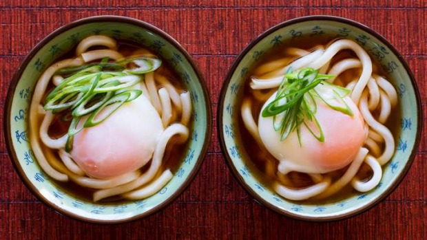Turning Japanese ... Bryan Martin's udon and dashi broth with soft egg. Dashi is made from dried seaweed and fish.