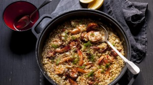 Garlic prawns with fennel and orzo risotto.
