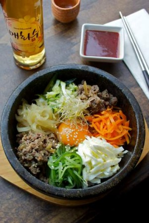 The bibimbap (mixed vegetables and rice) with plum sauce is a signature dish.