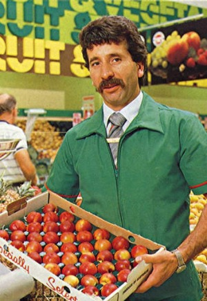 Fruit and vegetables for sale in 1983.