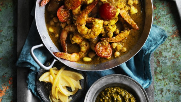Tagine of king prawn, chickpeas, almonds and cherry tomatoes.