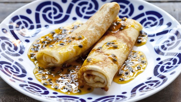 Passionfruit crepes.