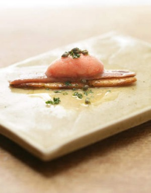 MoVida's anchovy with tomato sorbet.