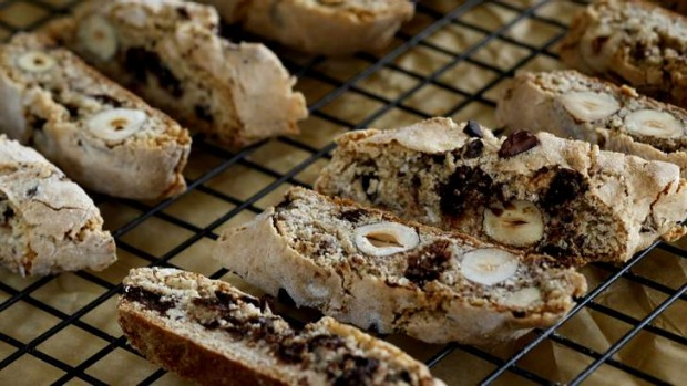 These fragrant choc chip cantuccini harden as they cool, becoming very crisp.