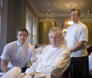 Retiring ... Chef Jacques Reymond pictured here with sous chefs Thomas Woods and Hayden Macfarland.