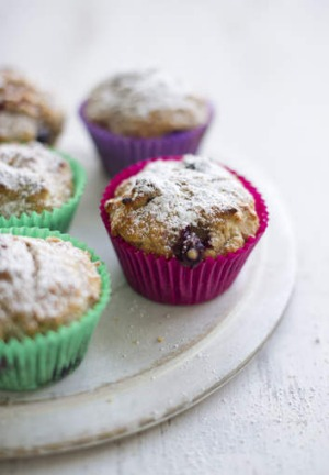High-energy, high-carb snack: Apple and berry muffins.