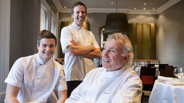 Jacques Reymond with sous chefs Thomas Woods and Hayden McFarland.