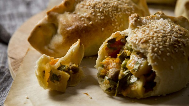 Lamb, vegetable and cheddar pasties with olive oil pastry.