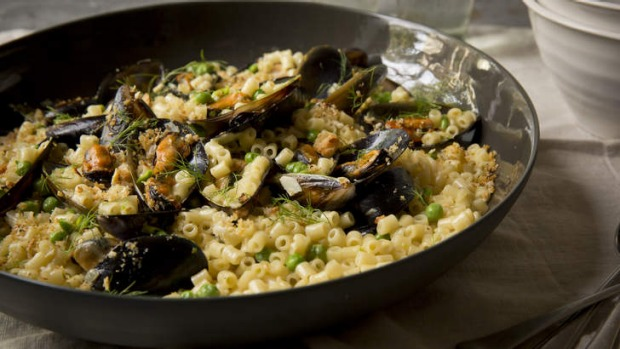Macaroni with mussels, spring peas and toasted breadcrumbs.