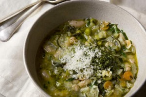 Spring minestrone with rocket and basil pesto.