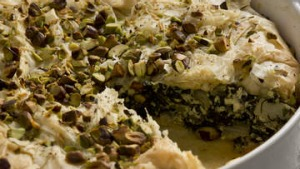 Filo pie with greens, feta and pistachios.