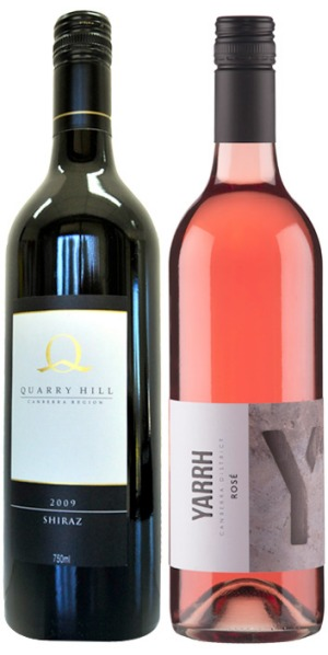 Two medal winners at the Winewise Small Vigneron awards, 2009 Quarry Hill Shiraz and 2013 Yarrh Rosé.