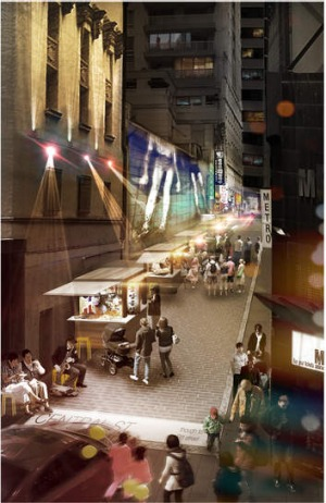 Transformed: An artist's impression of what Central Street will look like from George Street.