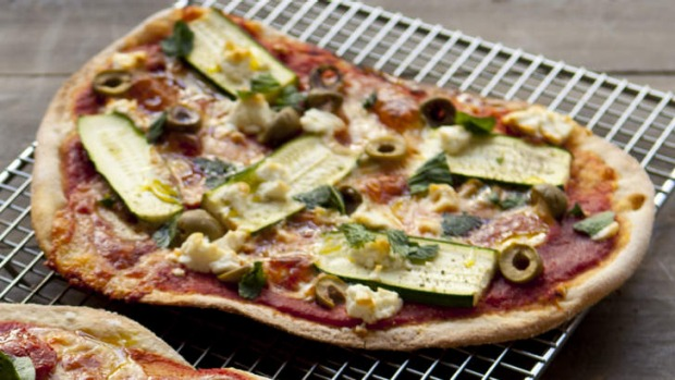 Frank Camorra's zucchini, green olive, mint and fetta pizza.