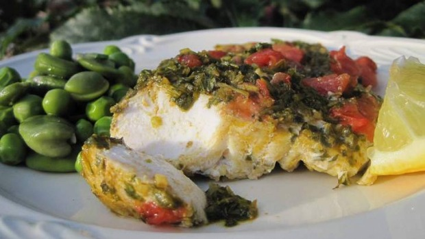 Chermoula on fish fillet.
