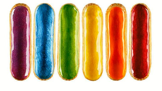 A rainbow of eclairs from L'eclair de Genie in Paris.