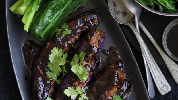 Stuffed eggplant with black bean sauce. You can add chilli if you want to spice things up.