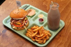 Tuck Shop's 'The Major' burger, triple-cooked chips and Nutella milkshake.