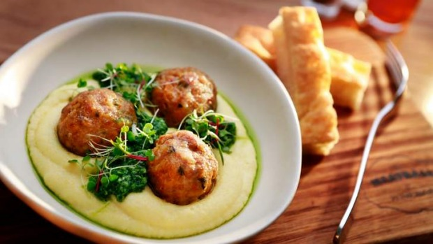Go-to dish: Pork meatballs with polenta.