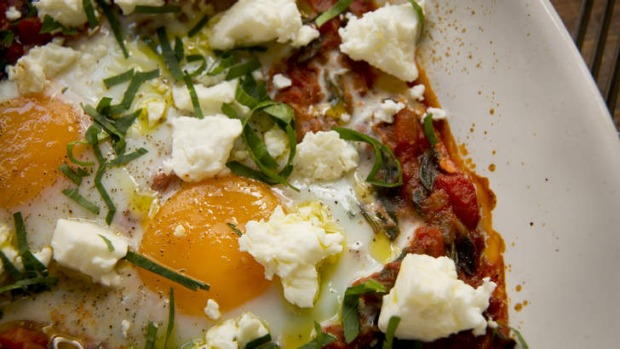 Frank Camorra's baked eggs with spicy tomato and feta.