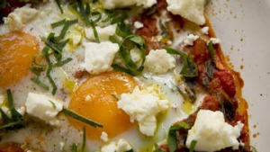Baked eggs, spiced tomato and feta.