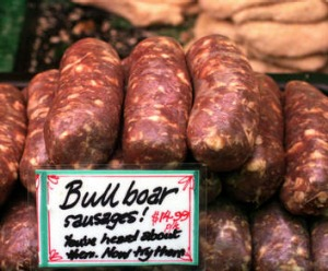 Bull-boar sausages are made from beef and pork infused with garlic, red wine and sweet spice.
