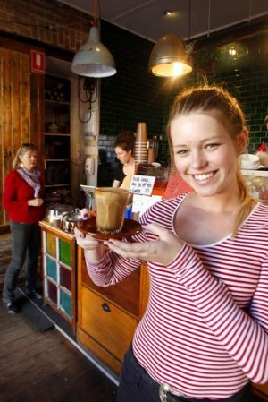 Freya Montefiore at Goods Brother's Espresso in Newcastle where customers can pay for another coffee which can then ...