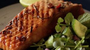 Barbecued ginger and soy glazed salmon.