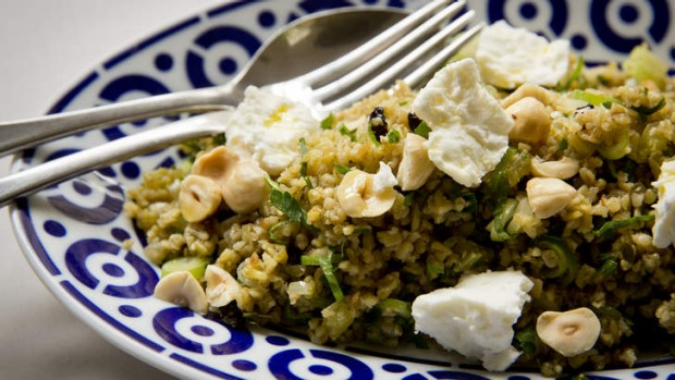 Frank Camorra's freekeh salad with hazelnuts and fetta.