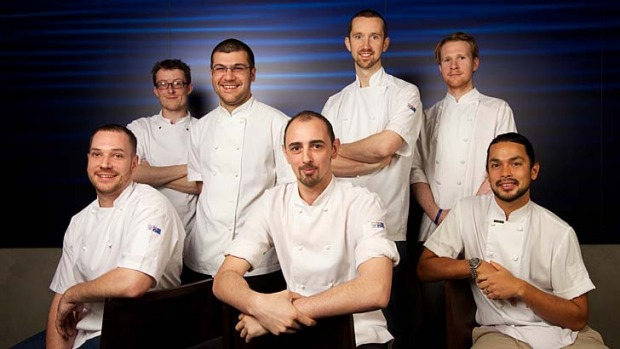 Young chefs: (From left), Mirek Anderson, Cian Mulholland, Troy Crisante, Chris Benedet, Jacob Davey, James Vidulich and ...