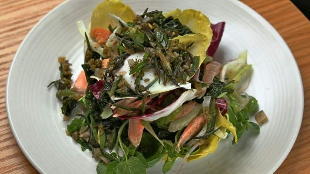 Dish of the day: Smoked trout, fresh leaves and poached egg with samphire salsa.