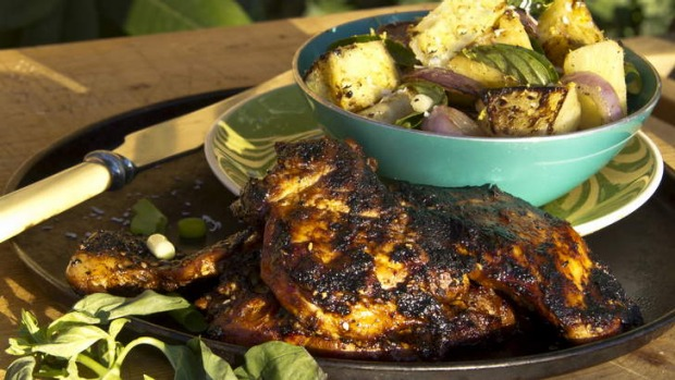 Barbecued pineapple salad and paprika chicken.