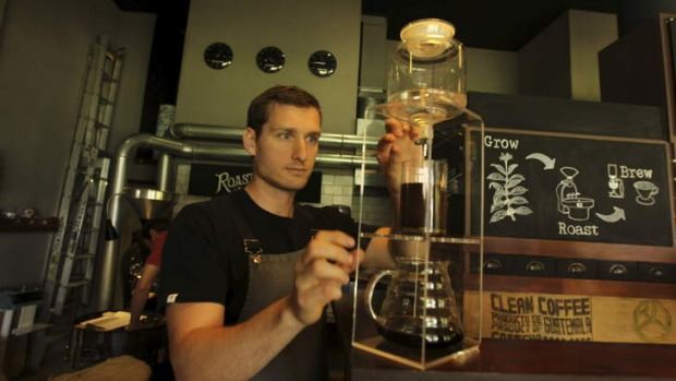 Japanese influence: Andrew Carter prepares cold-drip brews at Bean Drinking.
