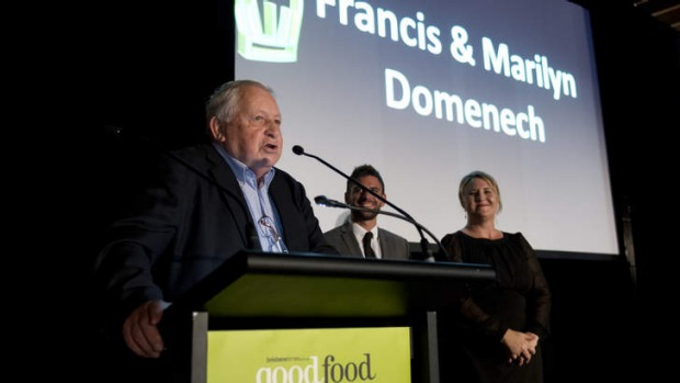 Francis Domenech (left) accepts the Vittoria Legend Award at the Brisbanetimes.com.au Good Food Guide awards in April.