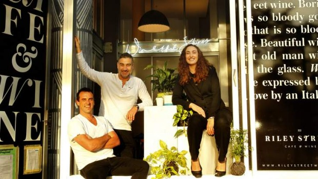Serendipity: Riley Street Cafe & Wine owners Michael Stephen, Mauro Marcucci and Gabrielle Webster have created the ...