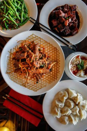 Extensive ... Lamb ribs with cumin, braised pork with soy sauce, stir-fried green beans with pork mince, wonton in hot ...