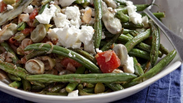 Greek olive oil beans with feta.