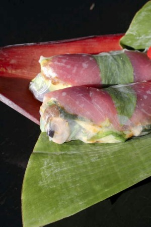 Play with flavours and textures ... The sashimi tuna rice paper rolls from Miss Chu.
