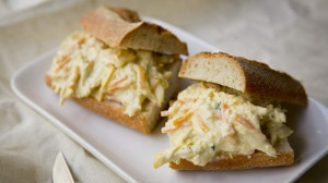 Chicken escabeche baguette.