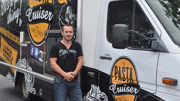 Brisbane's newest food van ... Neil Gladwin with The Pasta Cruiser.
