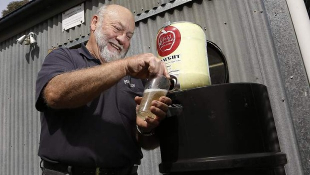 Going with the flow ... Ron Miller, of Gundaroo Cider Company, makes 15,000 to 20,000 litres a year of his Jolly Miller ...