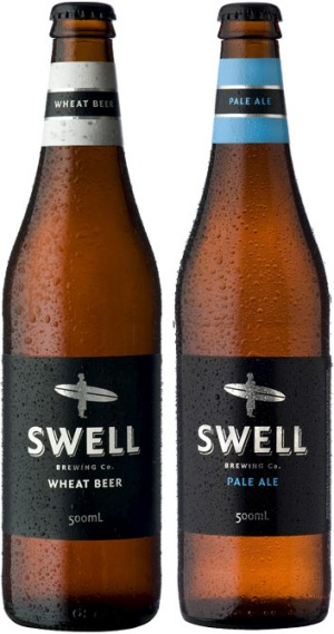 Swell Brewing Company's wheat bear, left, and pale ale.