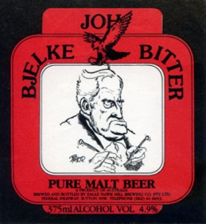 Label for Joh Bjelke Bitter, originally brewed at the Eagle Hawk Hill Motel.