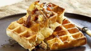 Buttermilk waffles with maple bacon butter.