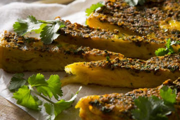 Potato chip tortilla with chermoula. <a ...