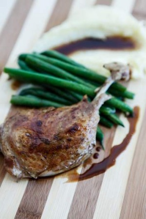 So tender ... Confit duck leg, with parsnip, beans and a pinot noir jus.