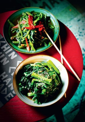 Chin Chin's gai lan dish  (Chinese broccoli) taken from the restaurant's new cookbook.