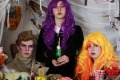 Wigs, cobwebs, costumes, food ... Anthea Leonard's Halloween party table.