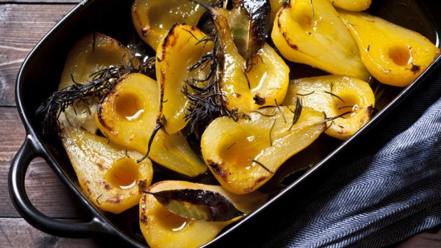 Karen Martini's roasted pears with verjuice, saffron, rosemary and bay leaves.
