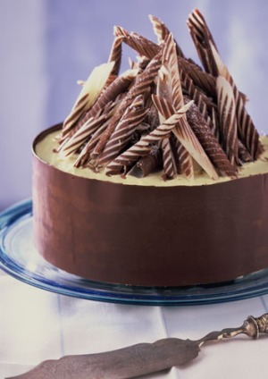 Striped Chocolate Curls Cake Recipe Good Food